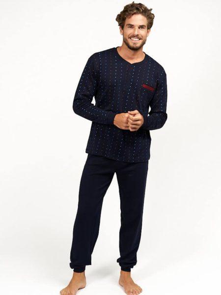 Pijama navideno de hombre color azul