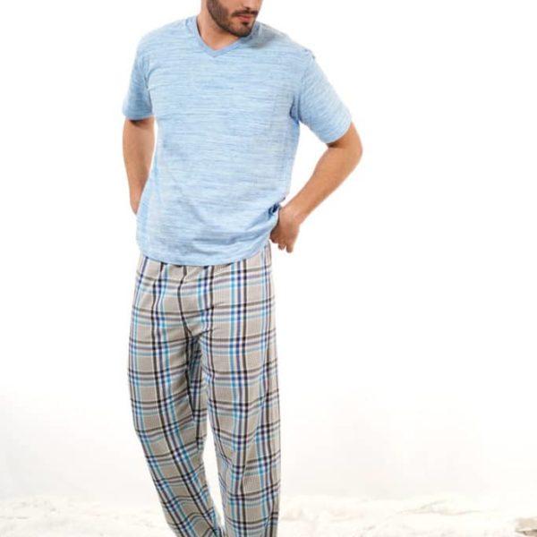 Pijama pantalón largo cuadros grandes