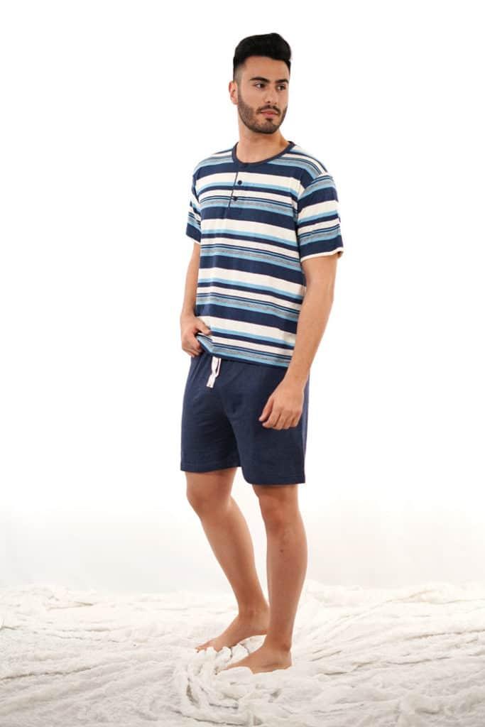 Pijama para hombre algodón rayas azules y blancas