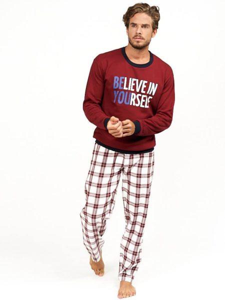 Pijama para hombre combinado cuadros rojos