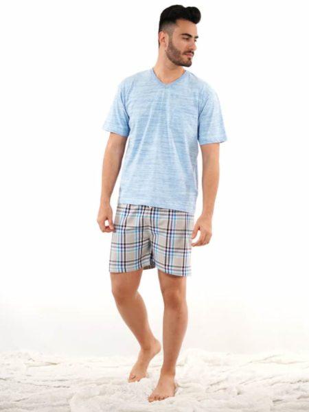 Pijama para hombre con cuadros azules