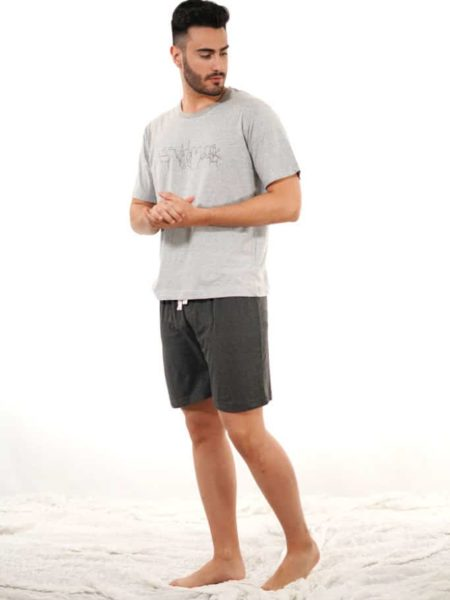 Pijama para hombre de algodón básico gris