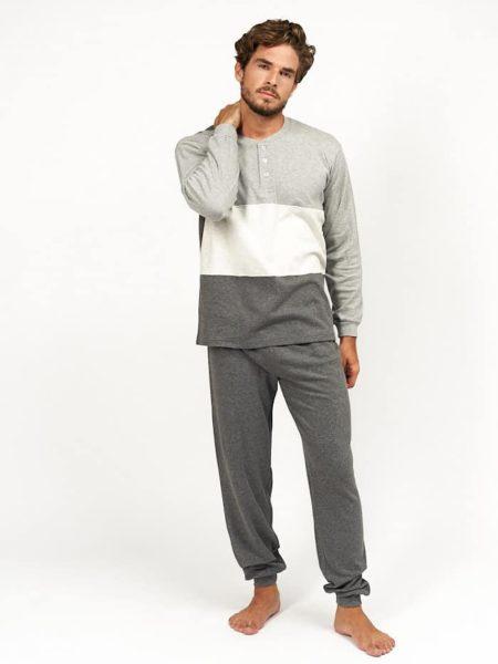 Pijama para hombre de invierno en tonos grises