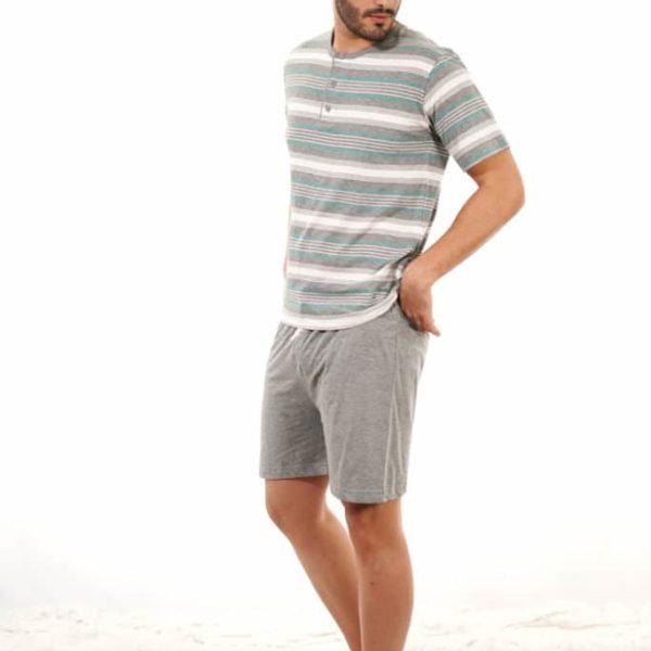 Pijama para hombre de verano rayas gris y blanca