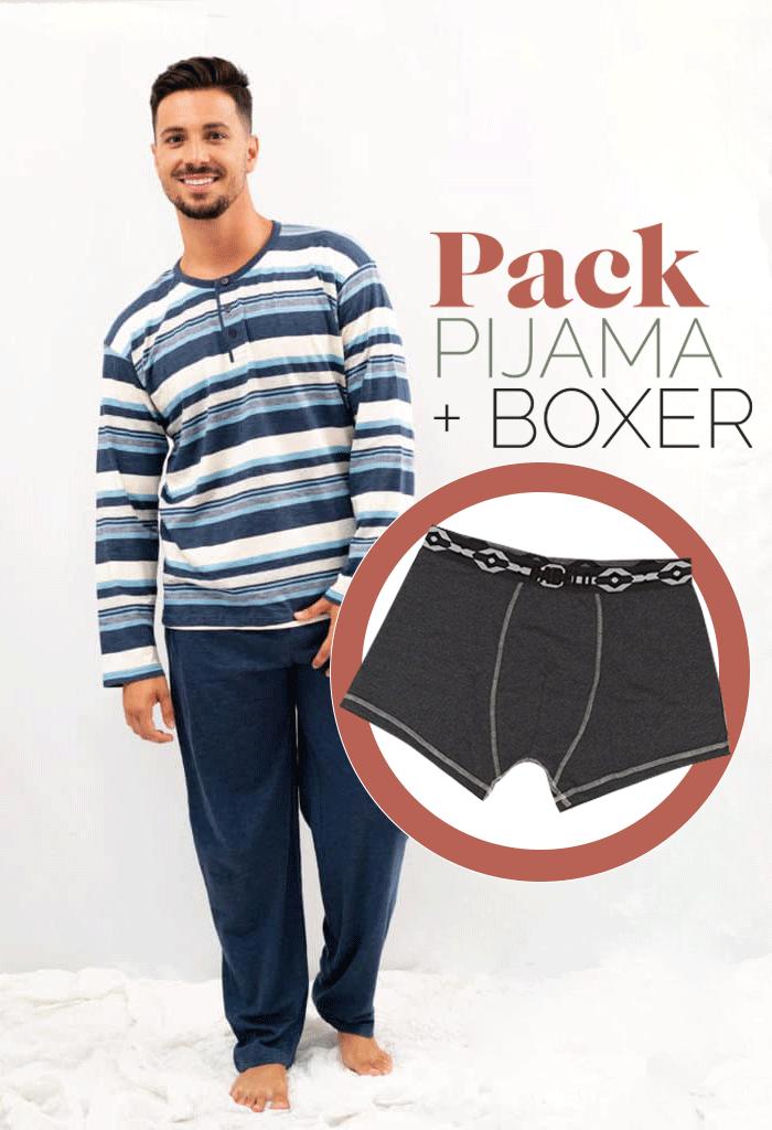 Pijama primaveral con rayas azules para hombre + bóxer