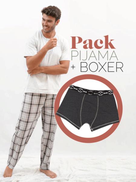 Pijama primaveral de cuadros blancos para hombre + bóxer