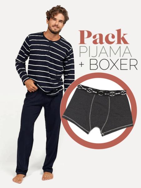 Pijama primaveral de hombre estilo marinero + bóxer