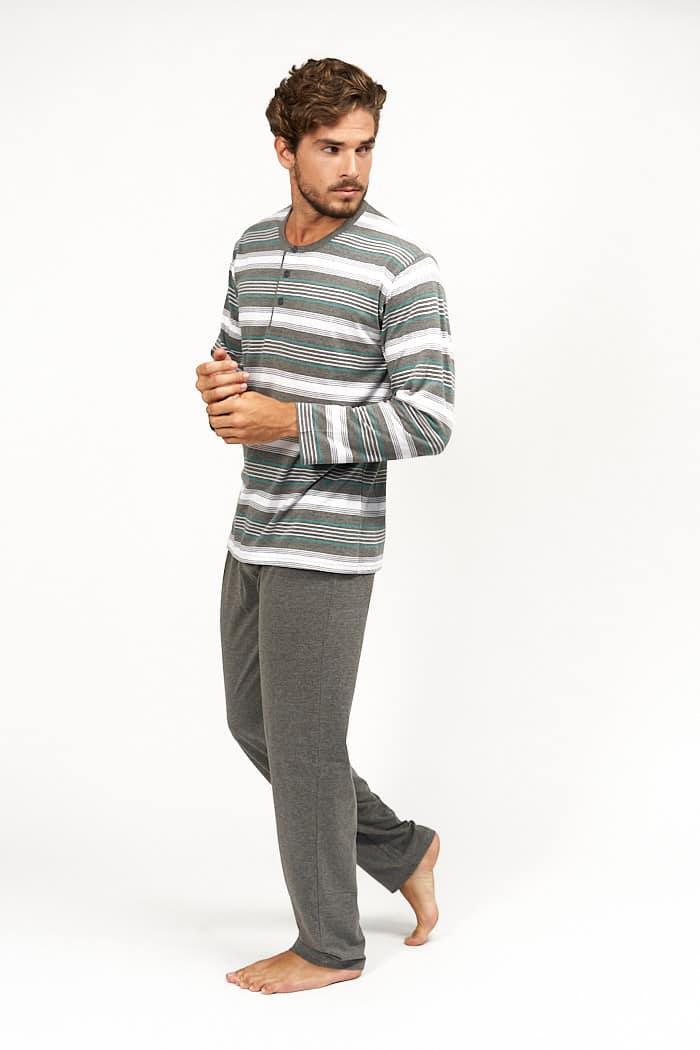 Pijama rayas grises