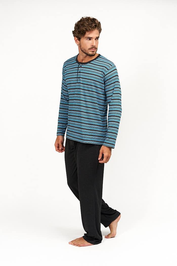 Pijama rayas turquesa