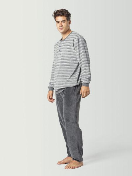 Pijama de terciopelo gris para hombre