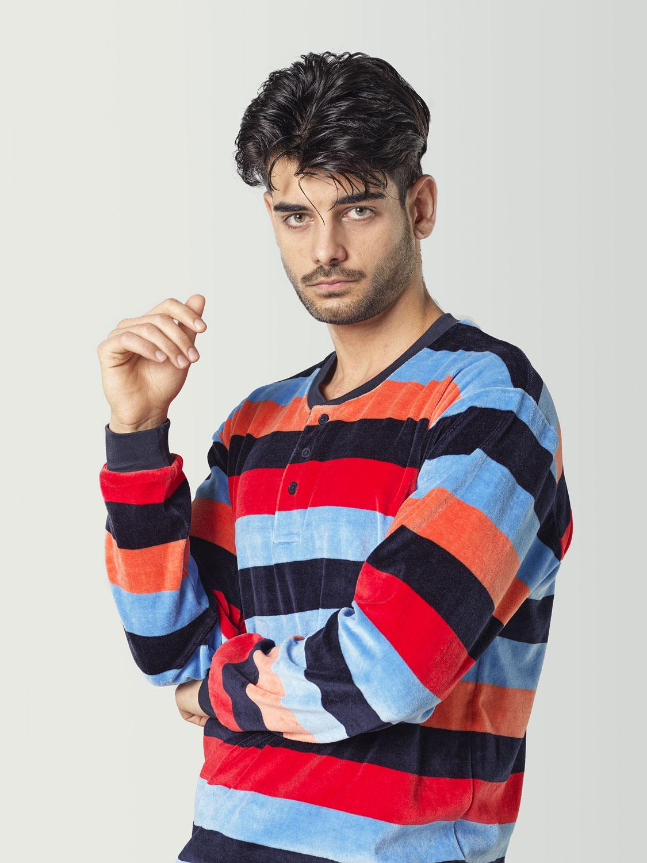 Pijama terciopelo a rayas para hombre