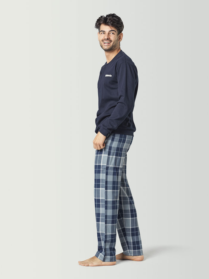 pijama a cuadros para hombre de invierno