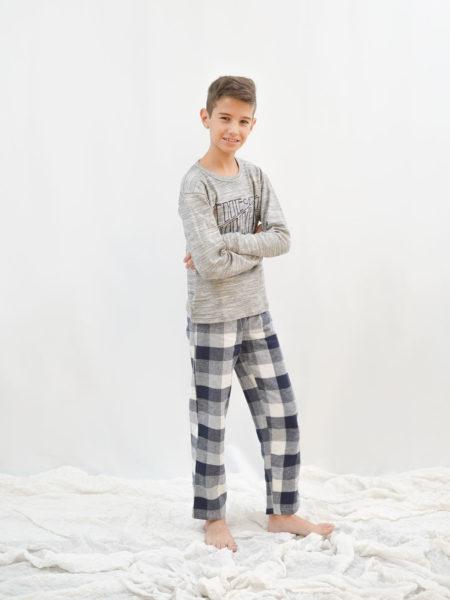 pijama de niño de invierno cuadros gris