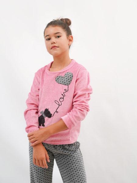 pijama de niña de terciopelo