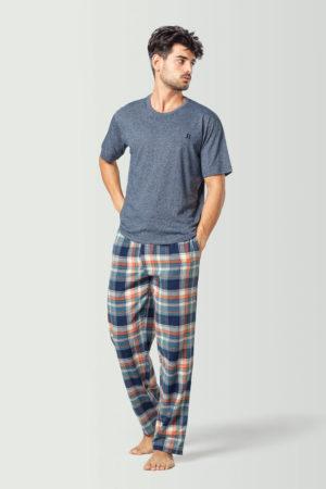 camiseta pijama hombre azul
