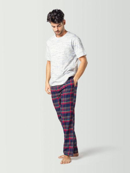 Pijama combinable con camiseta lisa y pantalón a cuadros