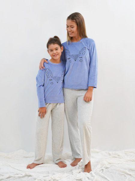 pijama mujer y niña terciopelo