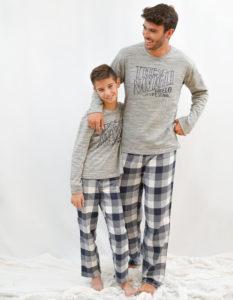pijama para familia padre e hijo cuadros