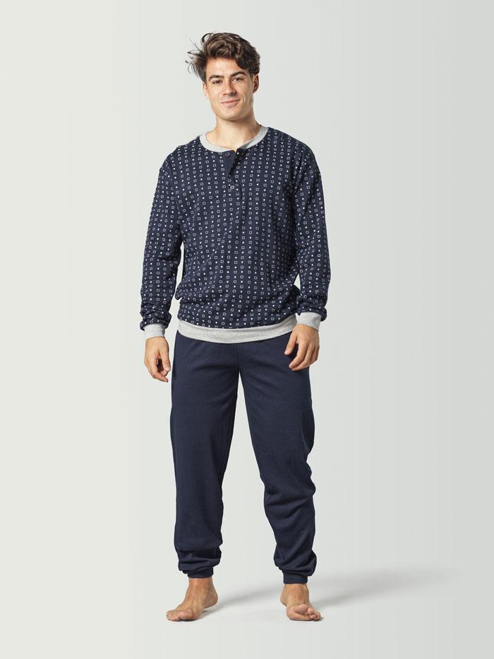 pijama para hombre combinado azul marino
